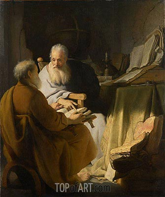Two Old Men Disputing, 1628 | Rembrandt | Painting Reproduction