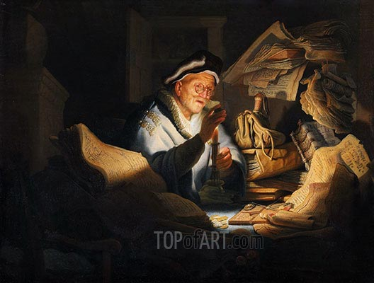 Moneychanger, 1627 | Rembrandt | Painting Reproduction