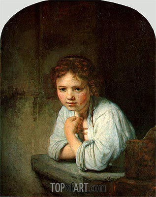 Young Girl in the Window, 1645 | Rembrandt| Gemälde Reproduktion