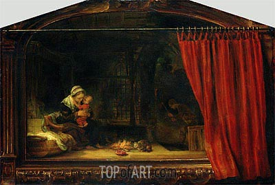 Holy Family with a Curtain, 1646 | Rembrandt | Painting Reproduction