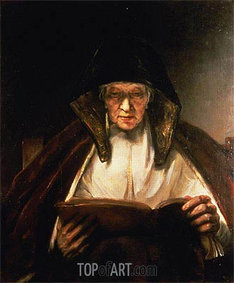 Rembrandt | Old Woman Reading, 1655