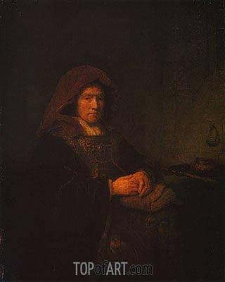 Rembrandt | Old Woman Holding Glasses, 1643