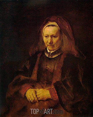 Portrait of an Elderly Woman, c.1650/52 | Rembrandt | Painting Reproduction