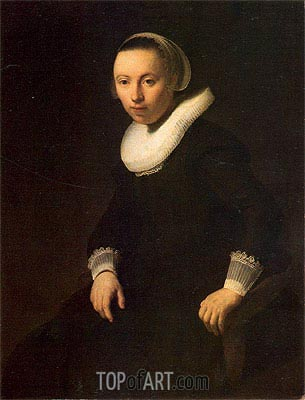 Young Woman in a Chair, 1632 | Rembrandt | Painting Reproduction
