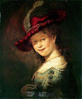 Portrait of the Young Saskia, 1633 | Rembrandt| Gemälde Reproduktion