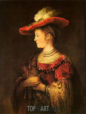 Saskia with a Bonnet, c.1642 | Rembrandt | Painting Reproduction