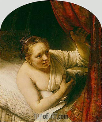 Sarah Expects Tobias in the Wedding Night, c.1645 | Rembrandt| Painting Reproduction