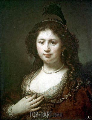 Bust of a Woman, 1636 | Rembrandt | Painting Reproduction