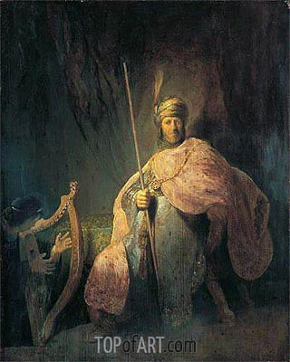 David Playing the Harp before Saul, c.1630 | Rembrandt | Painting Reproduction
