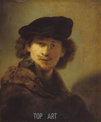 Self Portrait with Velvet Cap and a Cloak with Fur Collar, 1634 | Rembrandt| Painting Reproduction