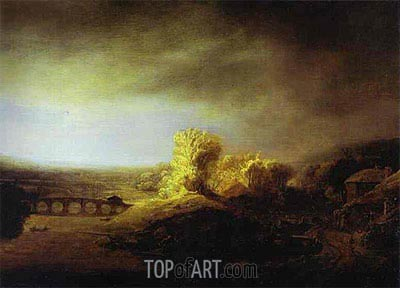 Landscape with a Long Arched Bridge, c.1630/40 | Rembrandt | Painting Reproduction