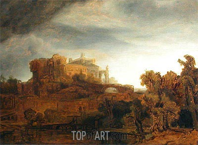 Landscape with Castle, c.1643 | Rembrandt | Painting Reproduction