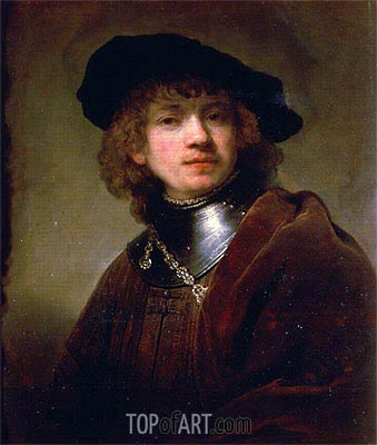 Rembrandt | 'Tronie' of a Young Man with Gorget and Beret, c.1639