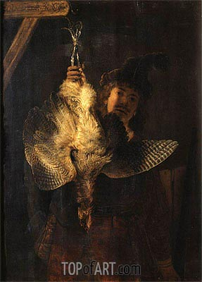 Self Portrait with Bittern, 1639 | Rembrandt| Painting Reproduction
