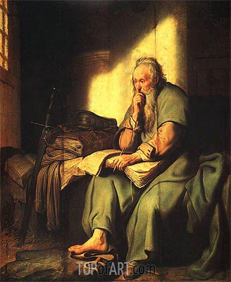 The Apostle Paul in Prison, 1627 | Rembrandt| Painting Reproduction