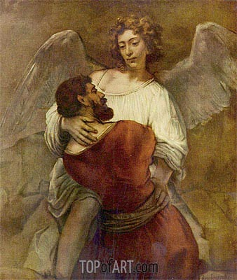Jacob Wrestling with the Angel, c.1659/60 | Rembrandt| Gemälde Reproduktion