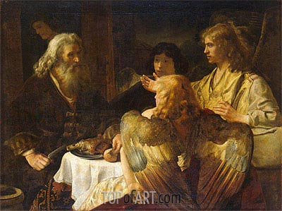 Abraham and the Three Angels, c.1635/45 | Rembrandt | Painting Reproduction