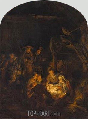 Adoration of the Shepherds, 1646 | Rembrandt| Painting Reproduction