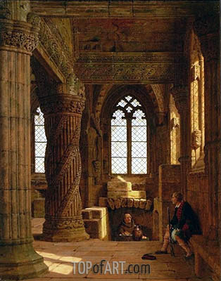 Rosslyn Chapel near Edinburgh, 1860 | Heinrich Hansen | Painting Reproduction