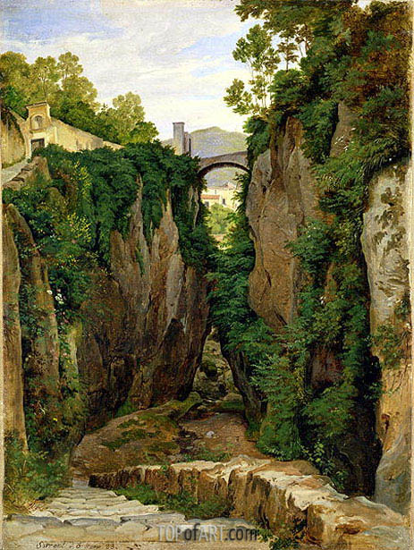 Rocky Ravine at Sorrento, 1823 | Heinrich Reinhold | Painting Reproduction