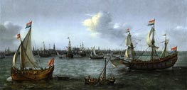 The Harbour in Amsterdam, 1630 by Hendrick Cornelisz. Vroom | Painting Reproduction