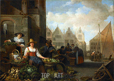 The Vegetable Market, 1662 | Hendrik Martensz Sorgh | Painting Reproduction