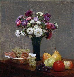 Asters and Fruit on a Table | Fantin-Latour | Painting Reproduction