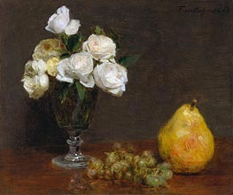 Still Life with Roses and Fruit, 1863 by Fantin-Latour | Painting Reproduction