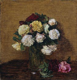 Roses in a Vase, 1878 by Fantin-Latour | Painting Reproduction
