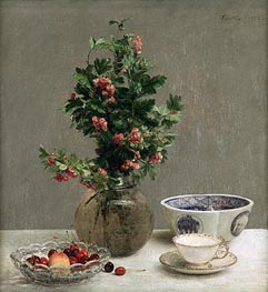 Still Life with Vase of Hawthorn, Bowl of Cherries, Japanese Bowl, Cup and Saucer, 1872 by Fantin-Latour | Painting Reproduction