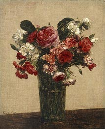 Still Life with Roses and Asters in a Glass, 1877 von Fantin-Latour | Gemälde-Reproduktion
