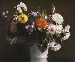 Still Life with Chrysanthemums, 1862 by Fantin-Latour | Painting Reproduction