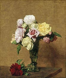 Still Life with Roses in a Fluted Vase, 1889 by Fantin-Latour | Painting Reproduction