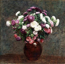 Asters in a Vase, 1875 by Fantin-Latour | Painting Reproduction