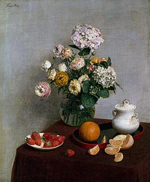Flowers and Fruit, 1866 von Fantin-Latour | Gemälde-Reproduktion