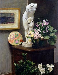 Still Life with Torso and Flowers, 1874 von Fantin-Latour | Gemälde-Reproduktion