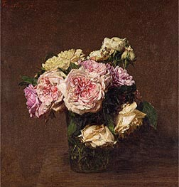 Roses in a Vase, 1894 by Fantin-Latour | Painting Reproduction