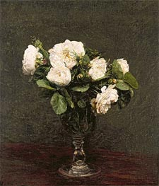 White Roses, 1875 by Fantin-Latour | Painting Reproduction