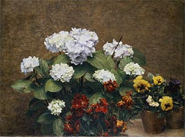 Hortensias and Stocks with Two Pots of Pansies, 1879 von Fantin-Latour | Gemälde-Reproduktion