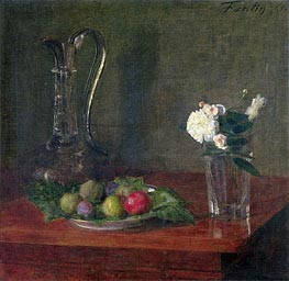Still Life with Glass Jug, Fruit and Flowers, 1861 von Fantin-Latour | Gemälde-Reproduktion