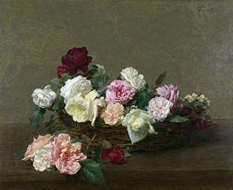A Basket of Roses, 1890 by Fantin-Latour | Painting Reproduction