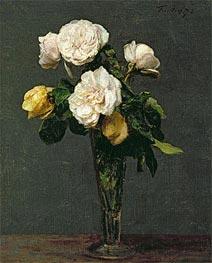 Roses in a Champagne Flute, 1873 von Fantin-Latour | Gemälde-Reproduktion