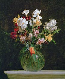 White Narcissus, Hyacinths and Tulips, 1864 von Fantin-Latour | Gemälde-Reproduktion