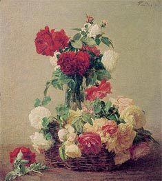 Roses, 1891 by Fantin-Latour | Painting Reproduction