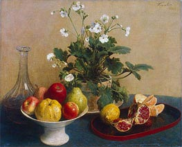 Flowers, Dish with Fruit and Carafe, 1865 von Fantin-Latour | Gemälde-Reproduktion