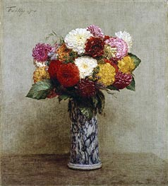 Dahlias in a Chinese Vase, 1874 by Fantin-Latour | Painting Reproduction