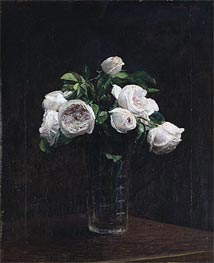 Blush Roses in a Glass, 1872 by Fantin-Latour | Painting Reproduction