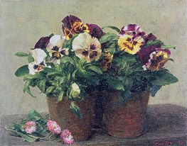Still Life of Pansies and Daisies, 1889 by Fantin-Latour | Painting Reproduction