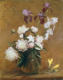 Bouquet of Peonies and Irises, 1883 by Fantin-Latour | Painting Reproduction