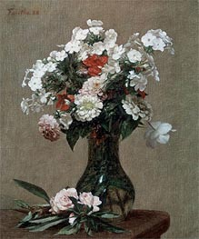 Still Life with Zinnias and Phlox, 1888 by Fantin-Latour | Painting Reproduction